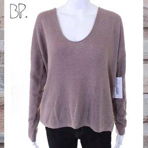 BP Beige Scoop Neck Knit LS Sweater